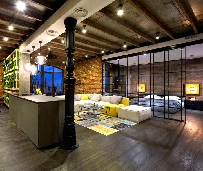 R novation et am nagement d 39 un loft kiev en ukraine - Loft design industriel cloud studio ...