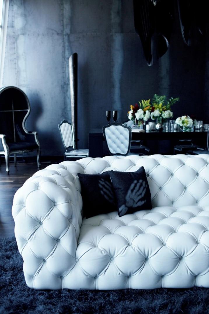 Canapé cuir blanc capitonné