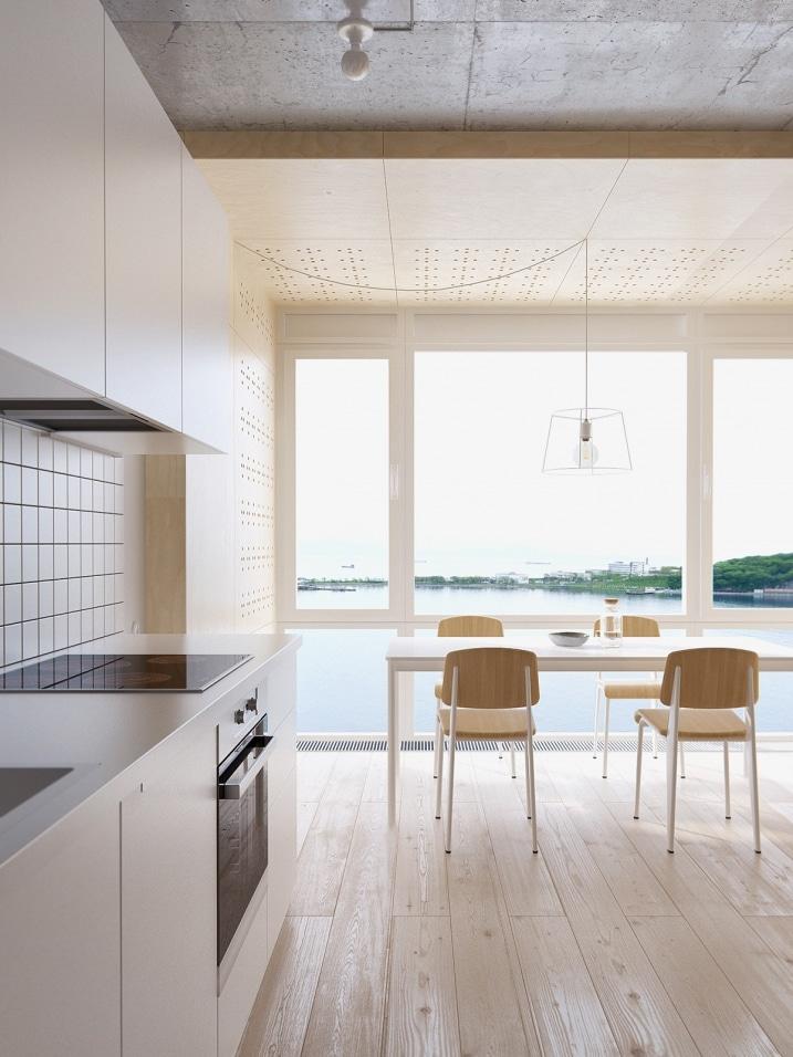Cuisine avec grande baie vitr e for Cuisine baie vitree