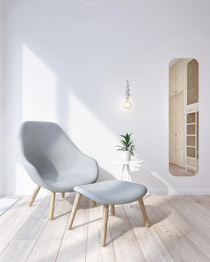 fauteuil gris scandinave. Black Bedroom Furniture Sets. Home Design Ideas