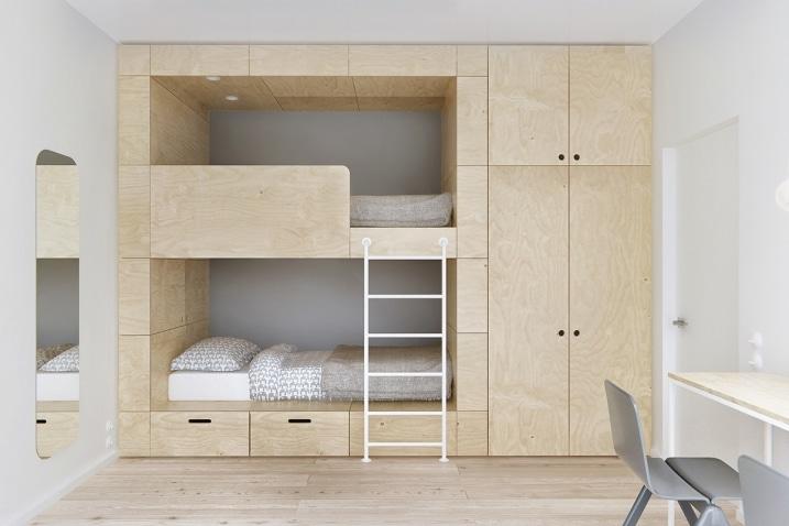 lit superpos en bois clair. Black Bedroom Furniture Sets. Home Design Ideas