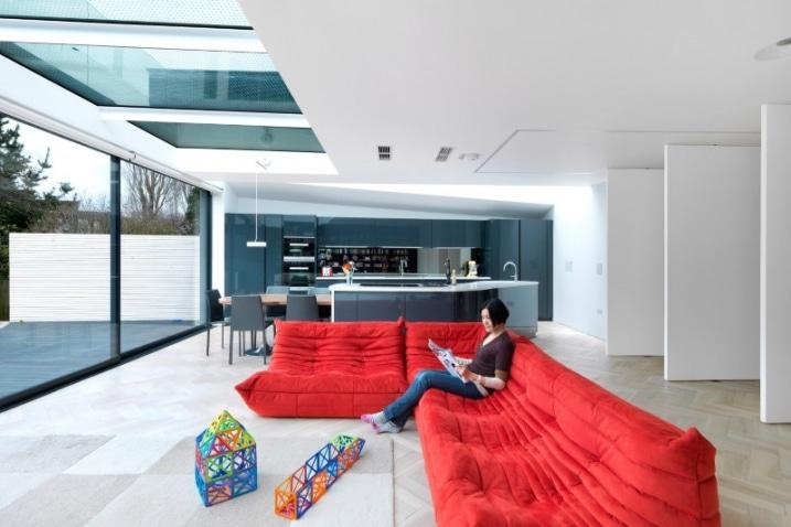 Canapé rouge angle