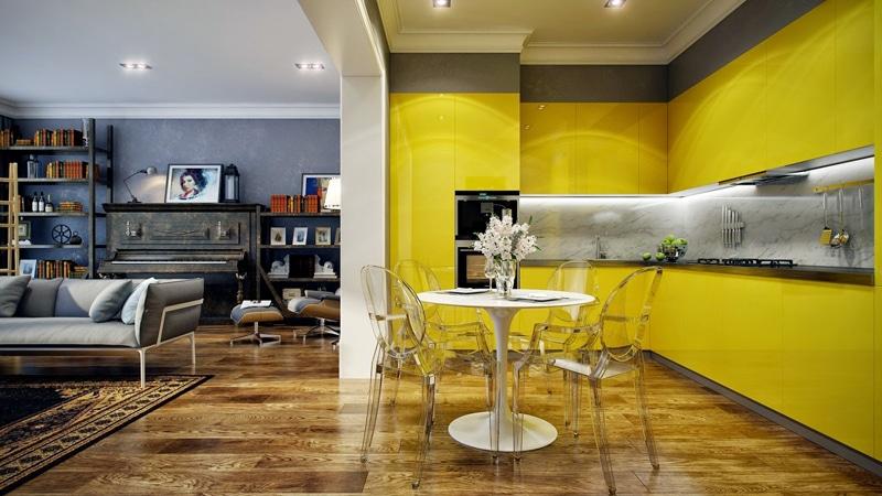 Cuisine jaune et marbre