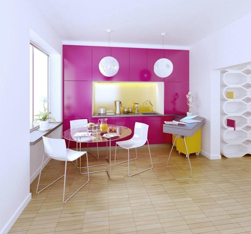 Cuisine rose et jaune