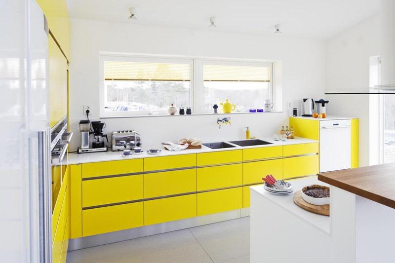 Eléments jaune cuisine