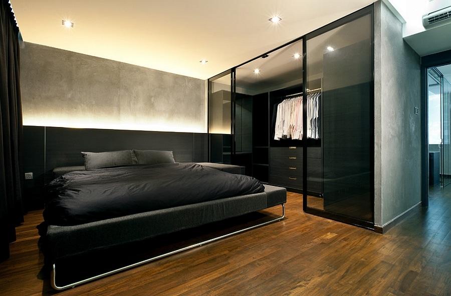 lit noir chambre homme