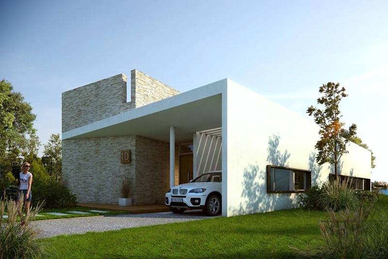 Maison design avec piscine fontaine for Porche maison contemporaine
