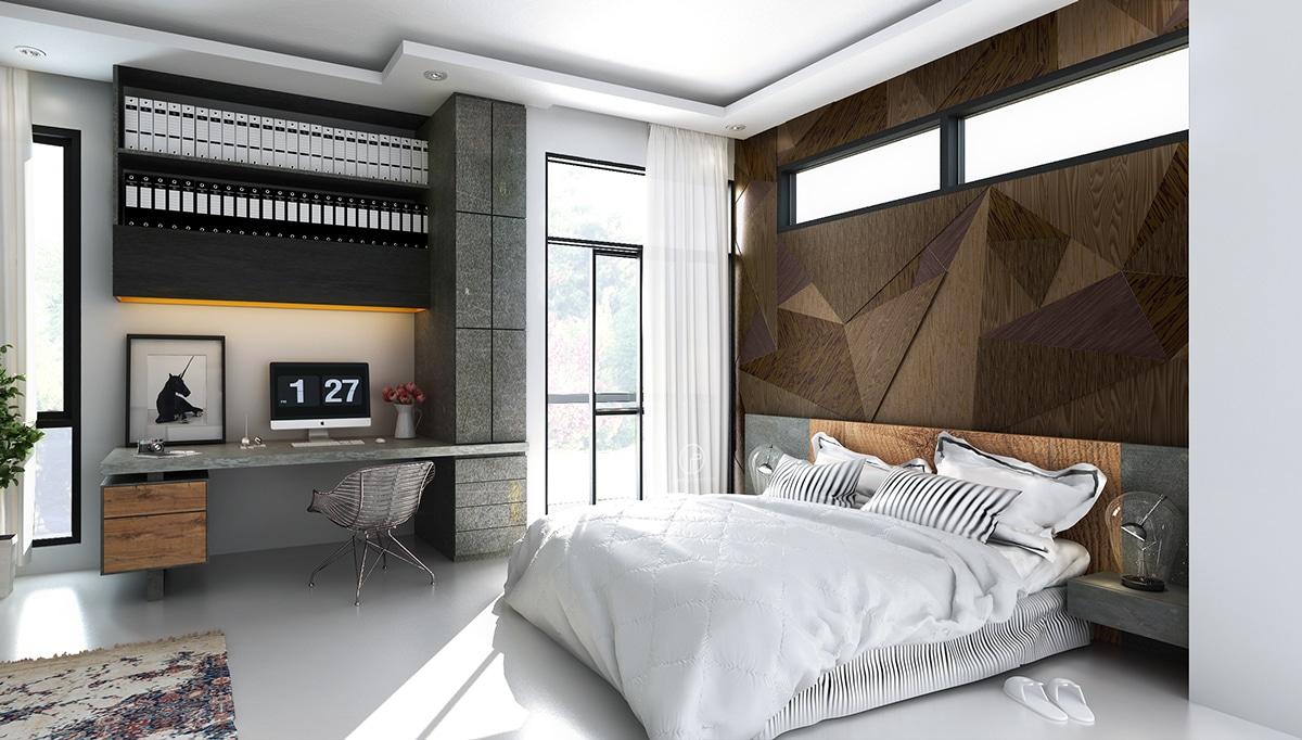 Mur en bois dans chambre