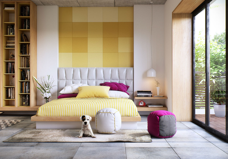 Mur jaune dans chambre