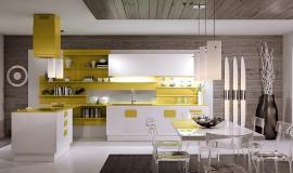 Plan de travail jaune cuisine