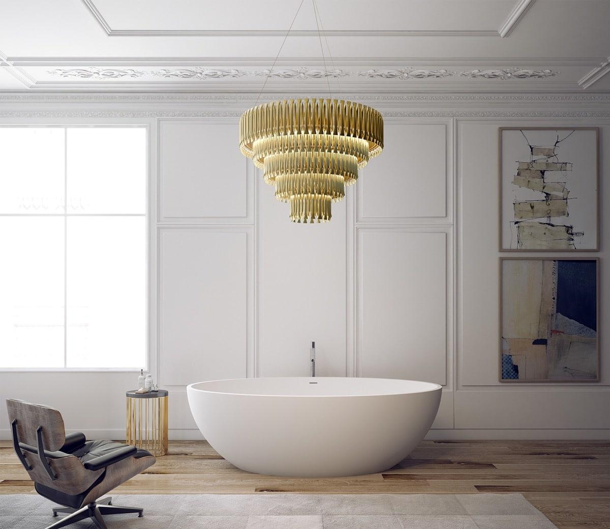 Baignoire minimaliste dans salon