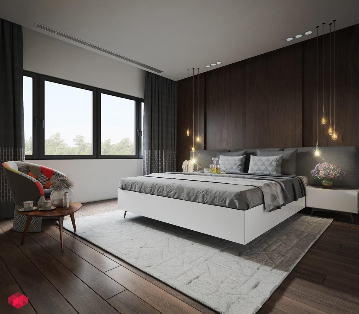Chambre avec des suspensions design