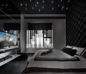 Chambre murs noirs capitonnés