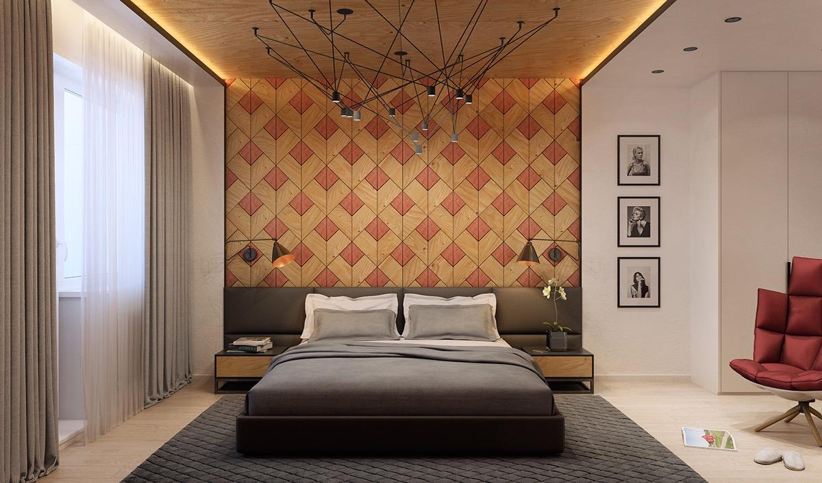 Chambre avec des murs texture géometrique