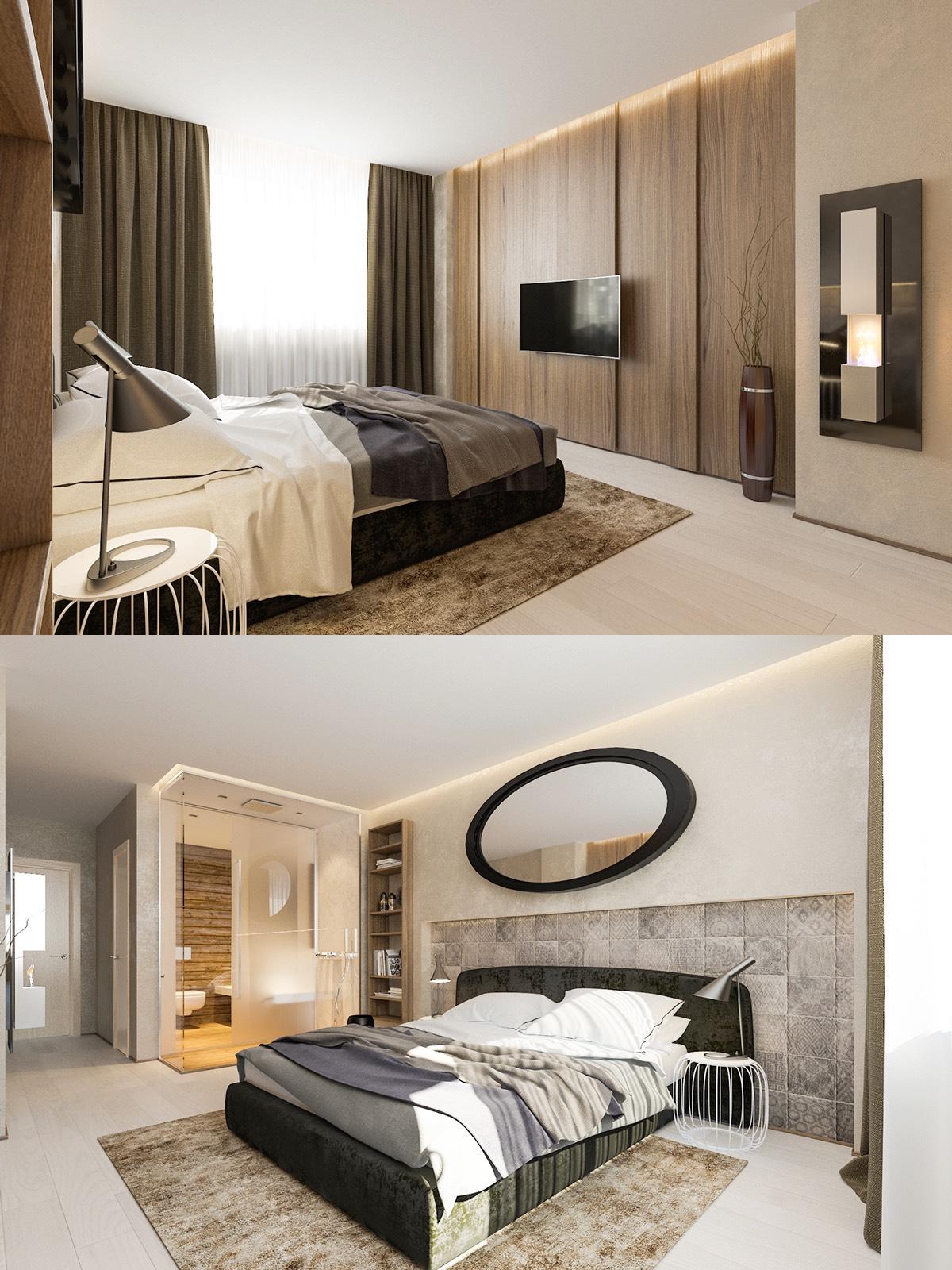 Miroir ovale au mur dans une chambre