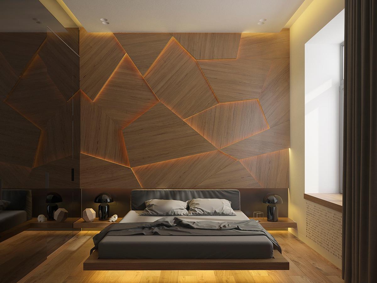 Murs bois avec éclairage indirecte