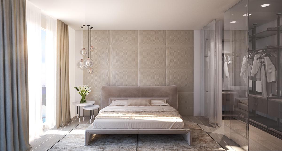 Murs capitonnés beige chambre