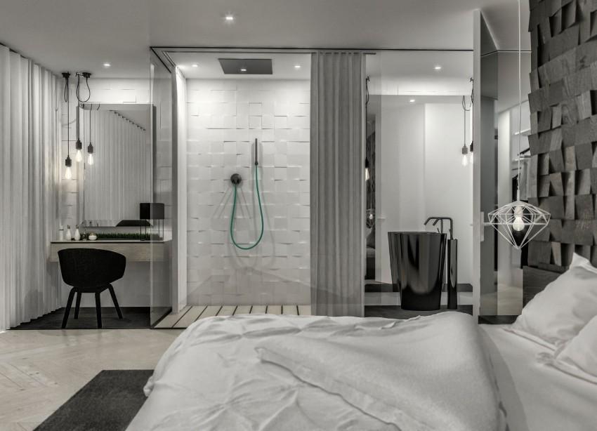 maison au design minimaliste avec des couleurs neutres. Black Bedroom Furniture Sets. Home Design Ideas