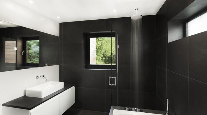 salle de bain noir blanc pure