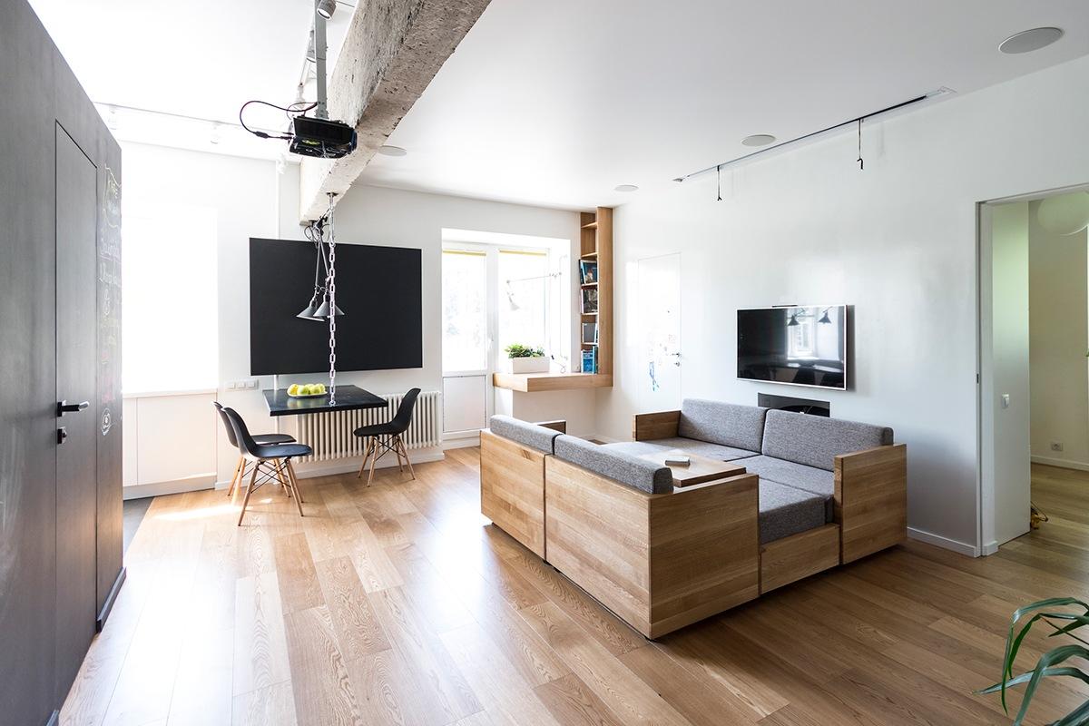 am nagement appartement avec des meubles modulables. Black Bedroom Furniture Sets. Home Design Ideas