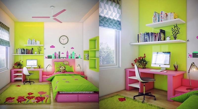 Chambre fille rose jaune