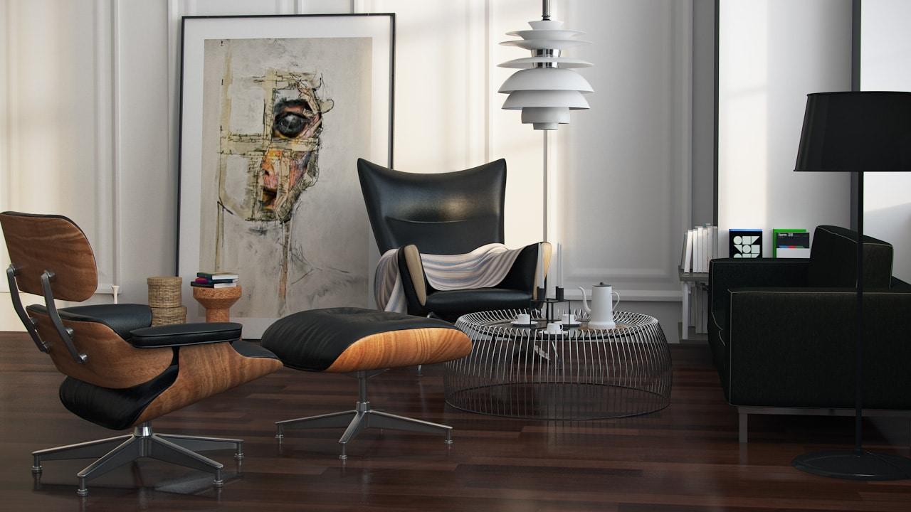 D 233 Corer Son Salon Avec Un Fauteuil Lounge Eames