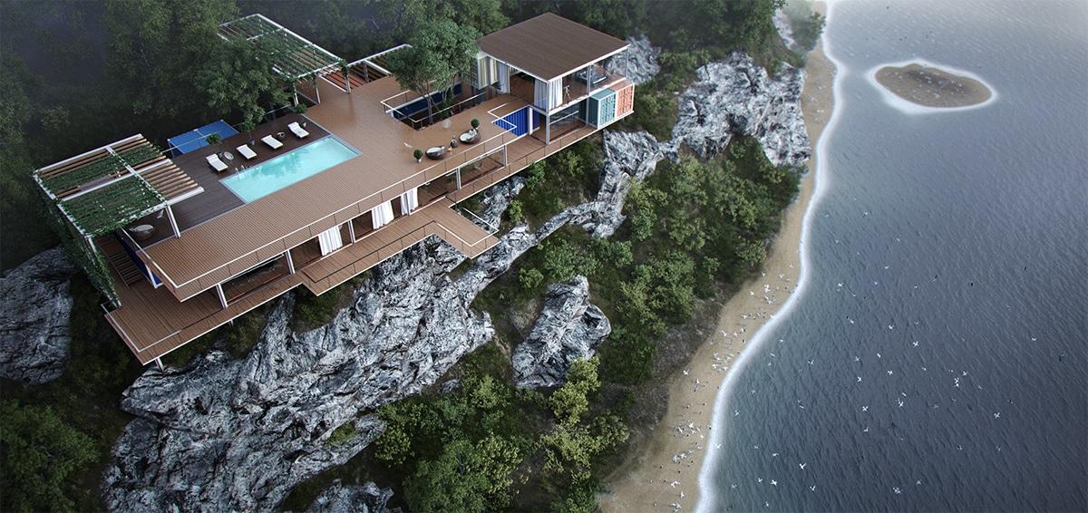 Maison sur falaise