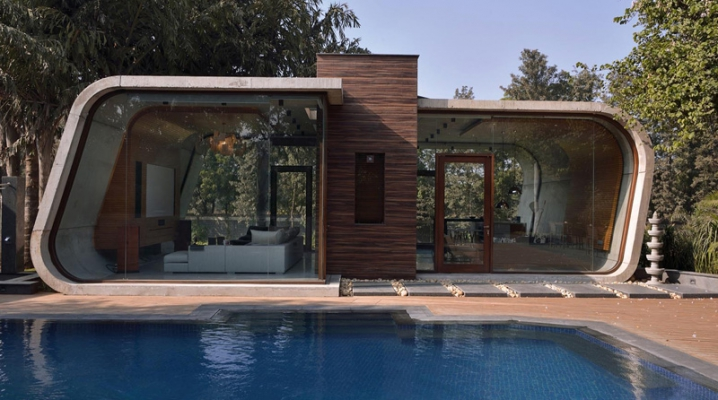 pool house design en b ton incurv et en bois. Black Bedroom Furniture Sets. Home Design Ideas