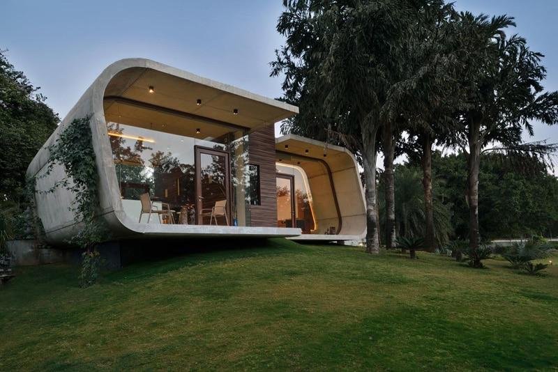 Pool House Design En B Ton Incurv Et En Bois