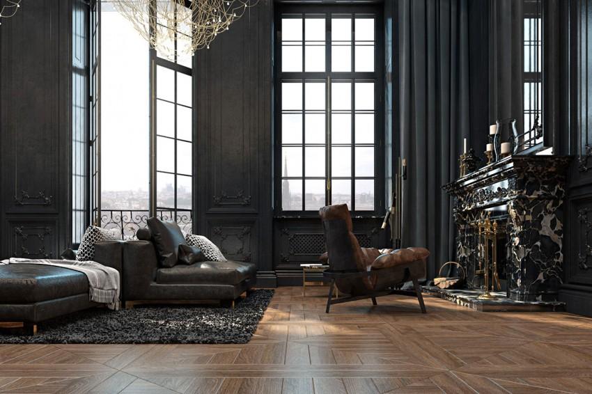 Appartement noir marbre bois