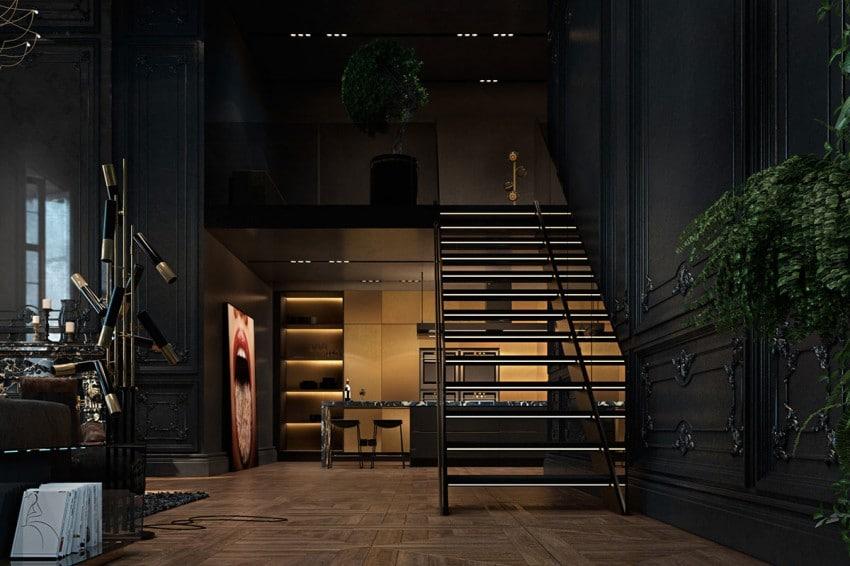 Escalier noir garde corps fume