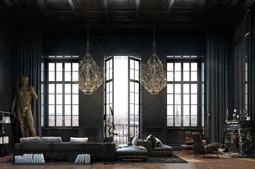Interieur appartement parisien noir