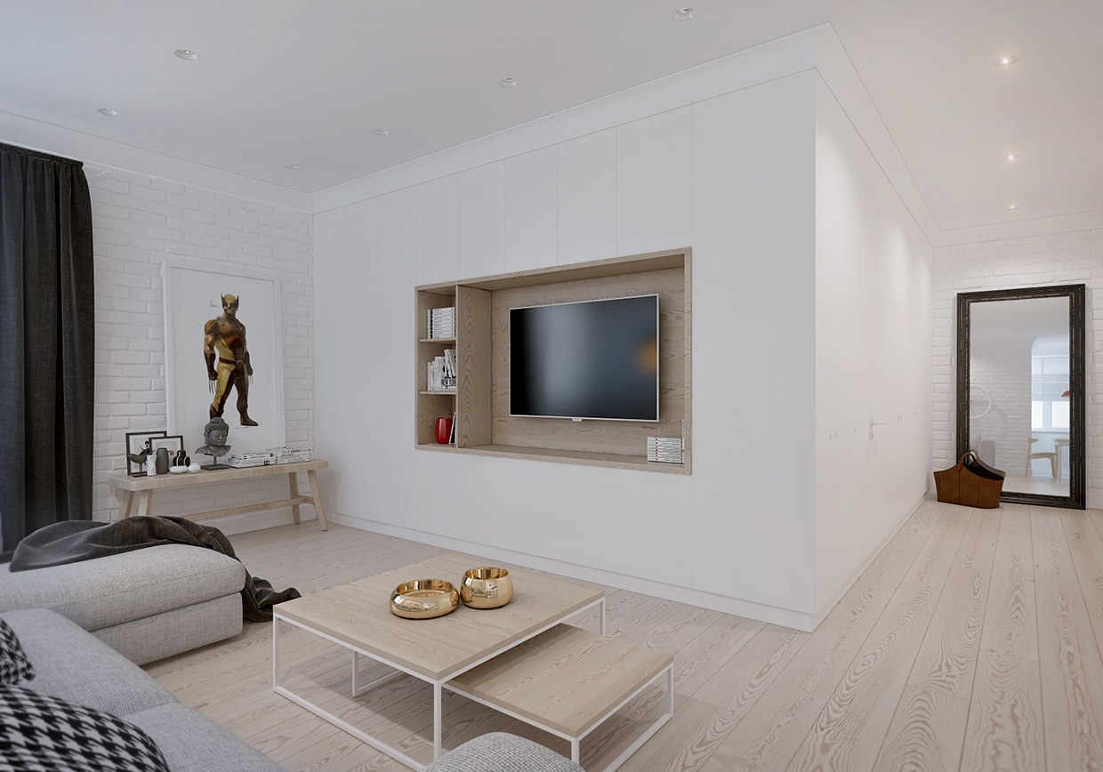 4 exemples et id es pour cr er une d coration scandinave for Decoration maison salon tv