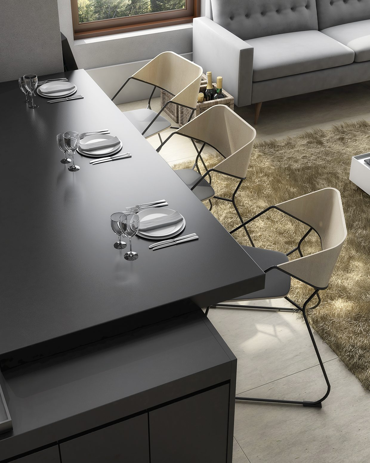 table cuisine noire. Black Bedroom Furniture Sets. Home Design Ideas