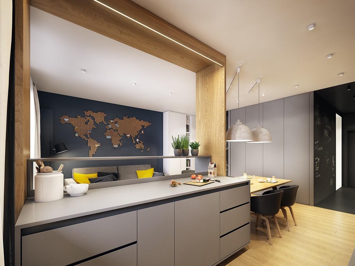 Plan de travail gris cuisine