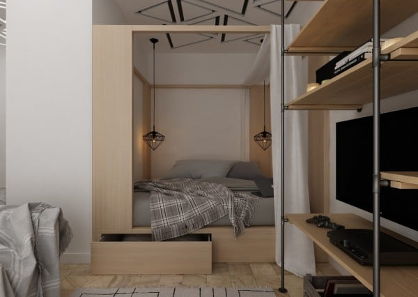 4 id es pour am nager un petit appartement de 30m2. Black Bedroom Furniture Sets. Home Design Ideas
