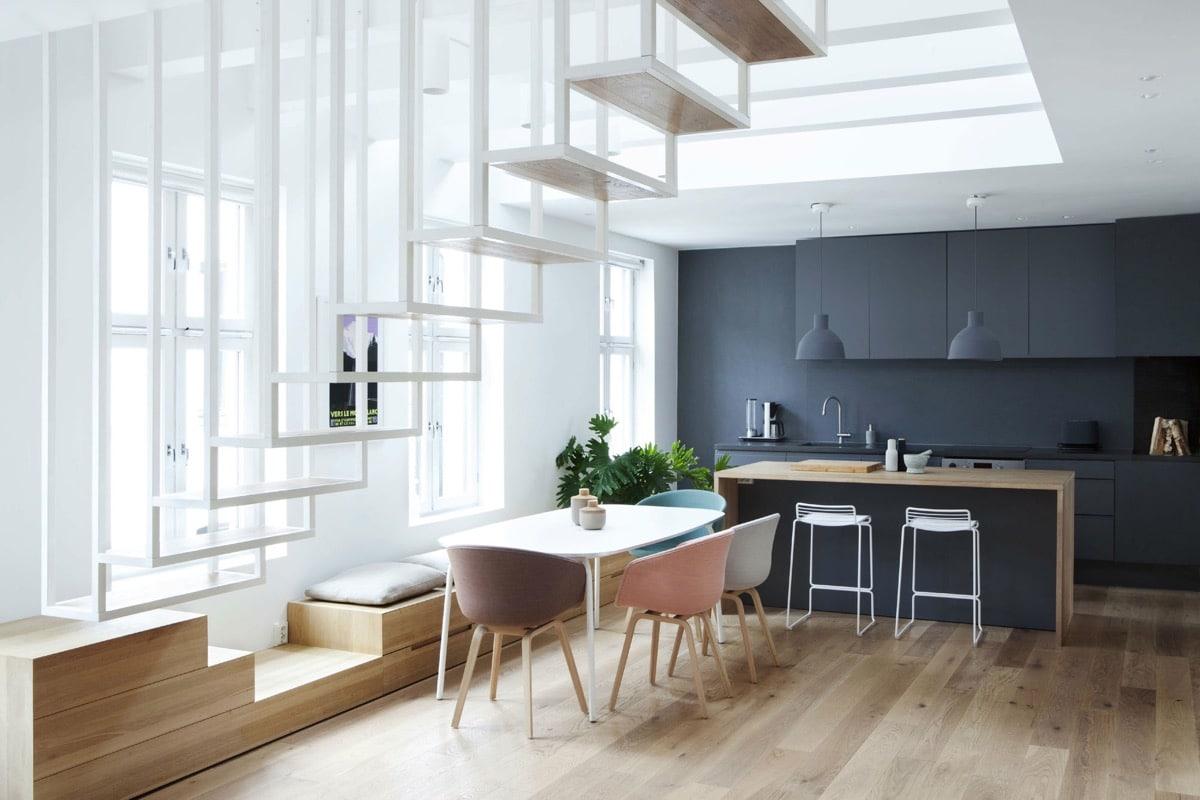 escalier minimaliste blanc