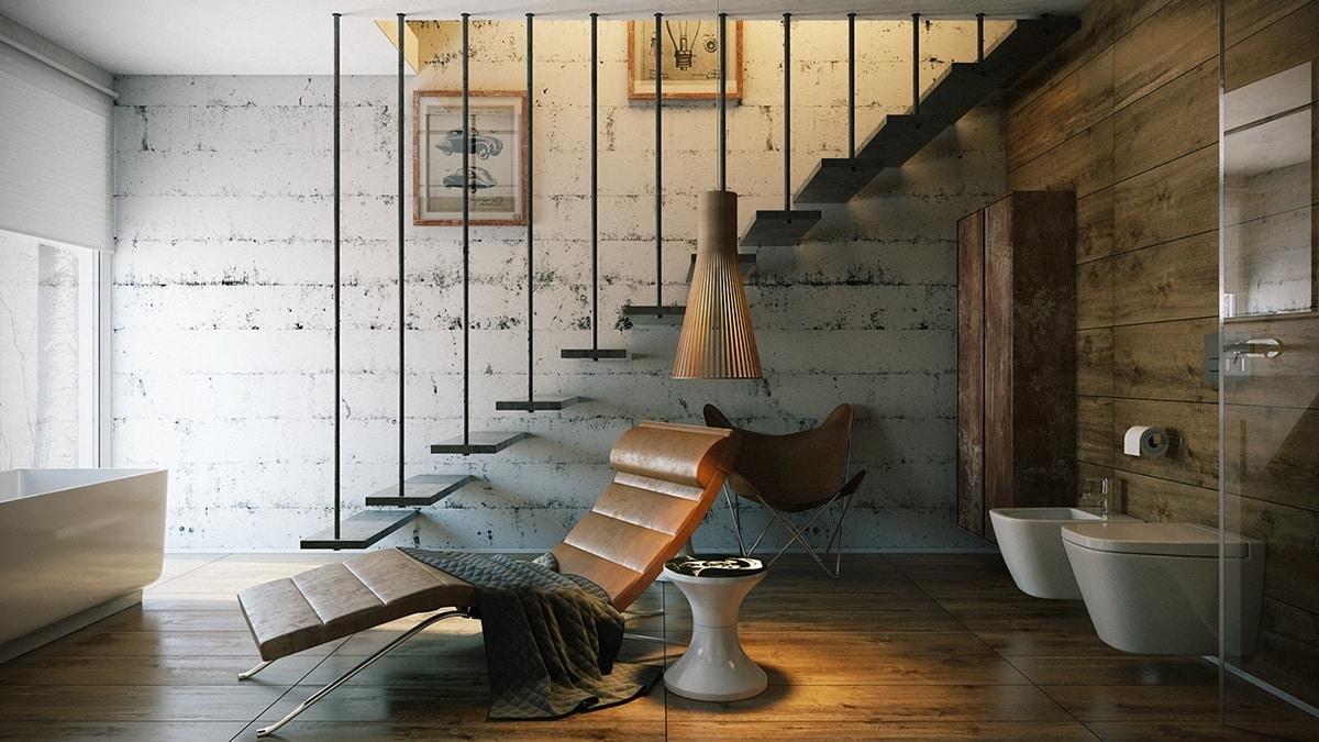 escalier vintage suspendu