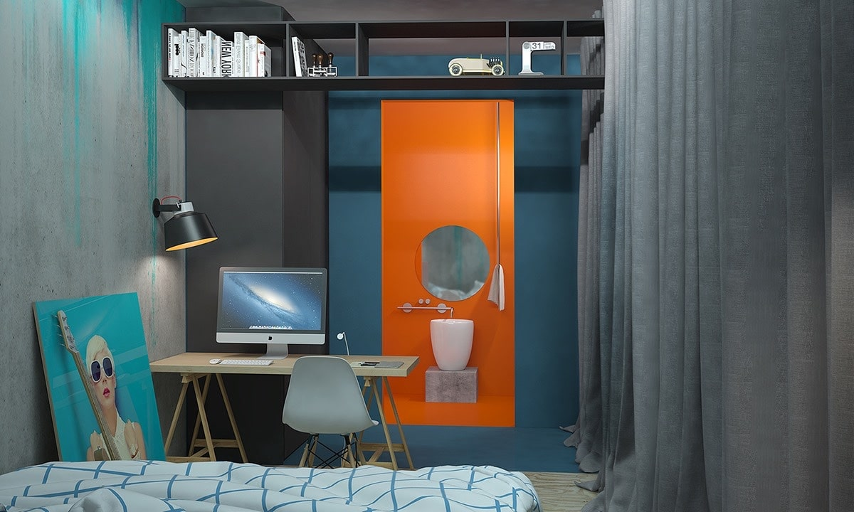 id e d co chambre orange bleu. Black Bedroom Furniture Sets. Home Design Ideas