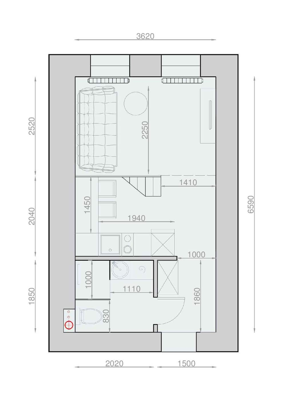 Plans pour am nager et d corer un appartement de 30m2 for Appartement design plan
