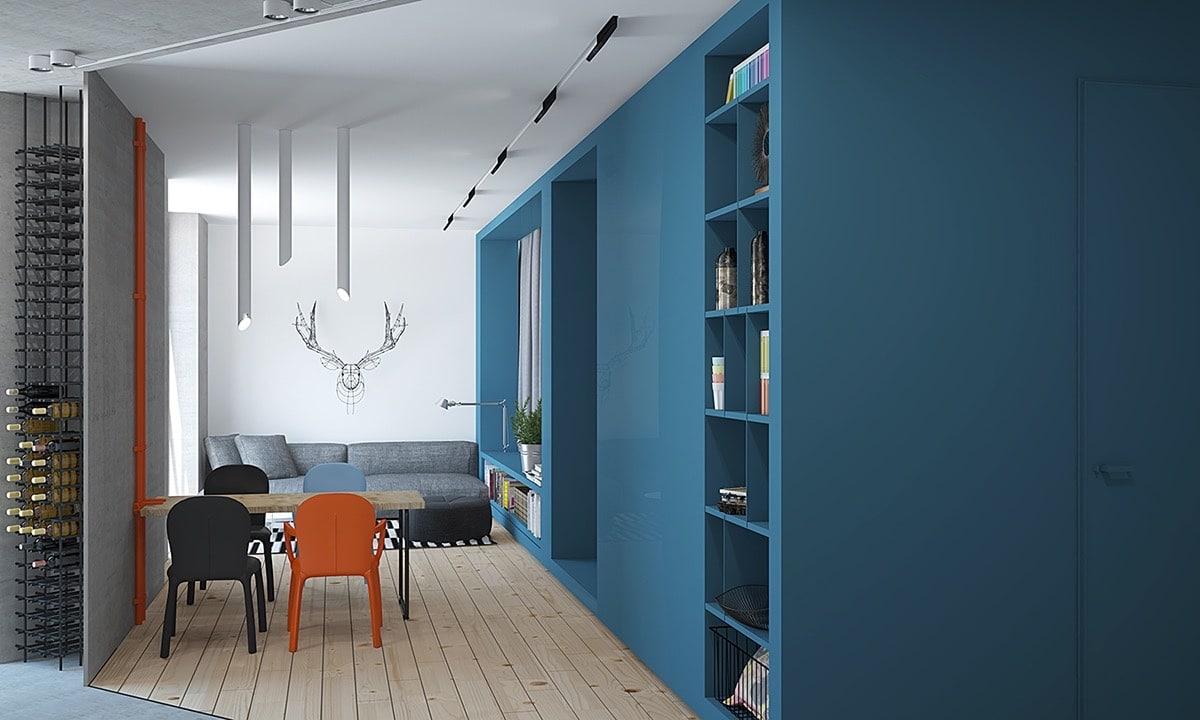 appartement moderne bleu. Black Bedroom Furniture Sets. Home Design Ideas