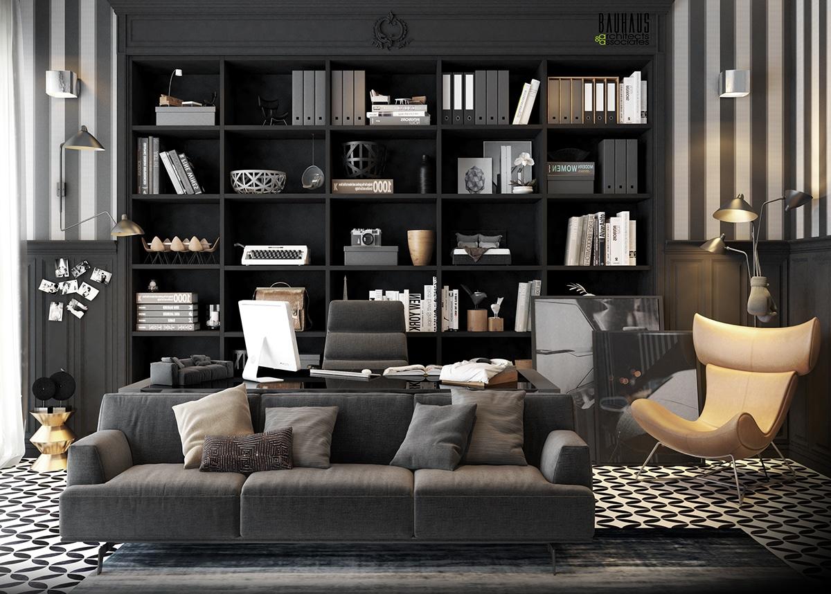 Bureau noir luxueux