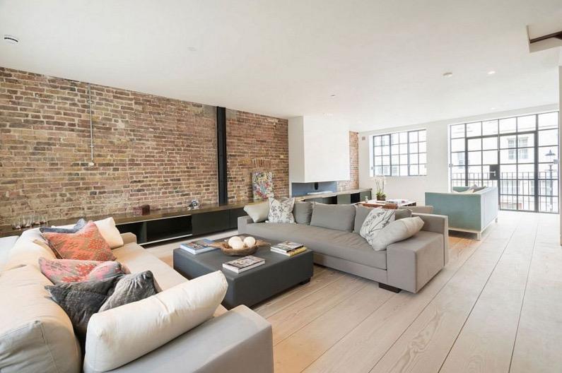 mur de briques rouges style loft. Black Bedroom Furniture Sets. Home Design Ideas