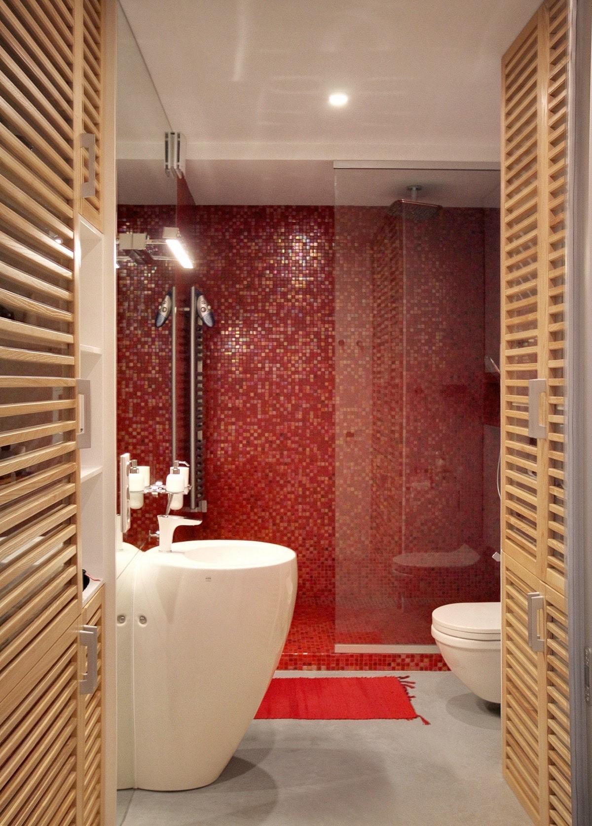 Beautiful Salle De Bain Rouge Et Bois Contemporary - House ...
