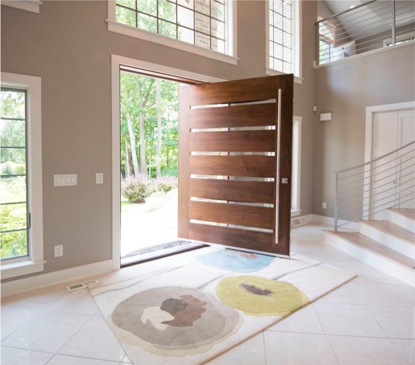 Porte entrée bois et verre