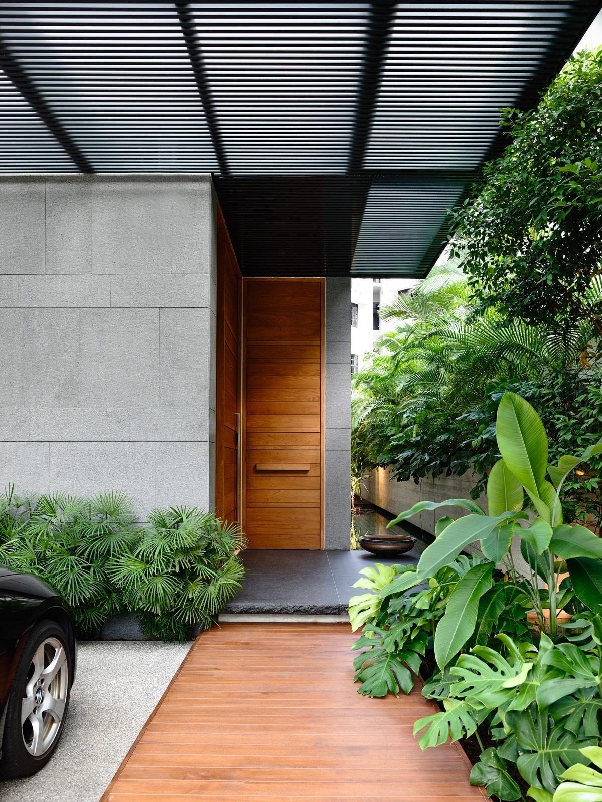 Porte entrée style japonais