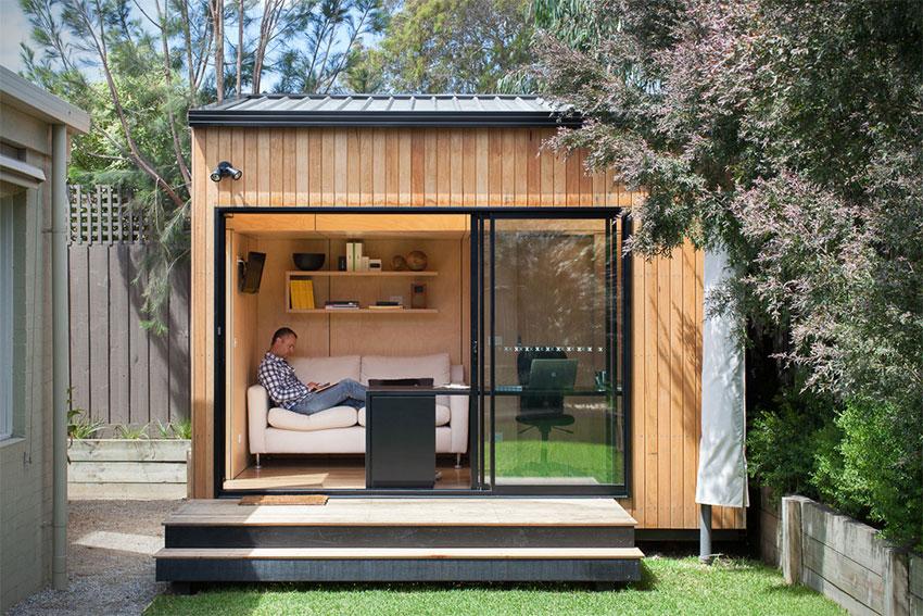 Bungalow de jardin contemporain en bois avec grande baie for Jardin contemporain gris