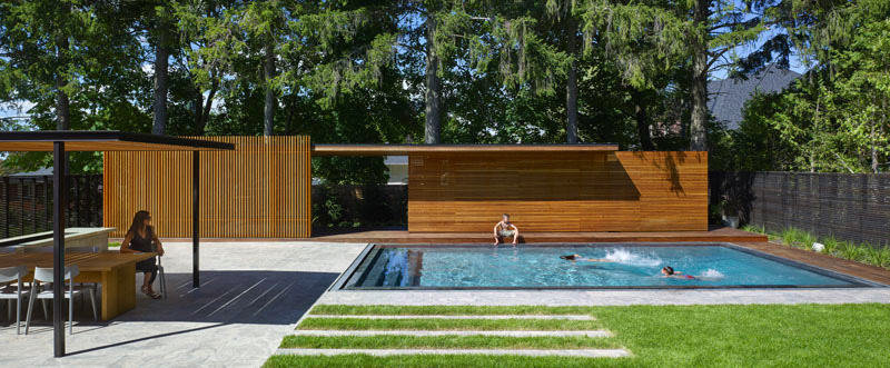 pool house design en bois avec pergola bioclimatique. Black Bedroom Furniture Sets. Home Design Ideas