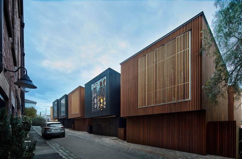 maisons urbaines avec fa ades d coup es au laser. Black Bedroom Furniture Sets. Home Design Ideas