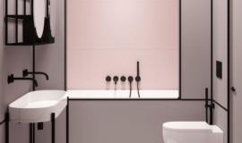 salle-bain-minimaliste-rose-noir
